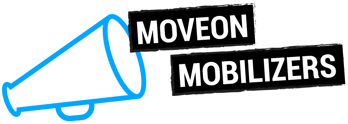 A blue speaker icon on the left and a text saying MoveOn Mobilizers on the right.
